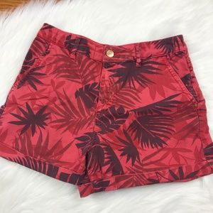 Zara Floral Shorts, Red, Size 6
